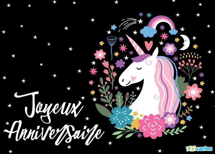 licorne avec des fleur= sur un fond de ciel étoilé