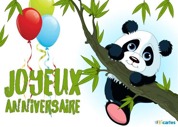 carte joyeux anniversaire panda mignon