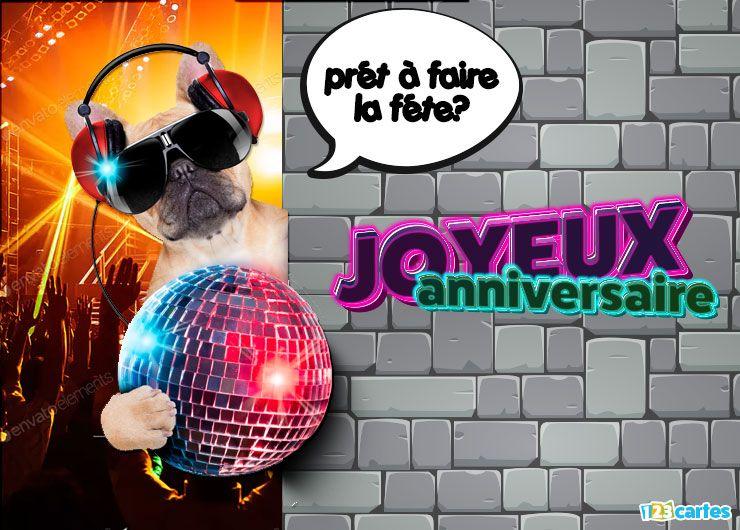 carte joyeux anniversaire prêt à faire la fête chien portant casque audio texte néon