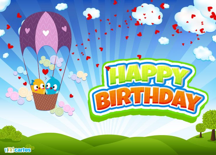 deux petits oiseaux amoureux dans une montgolfière avec joyeux anniversaire en Anglais