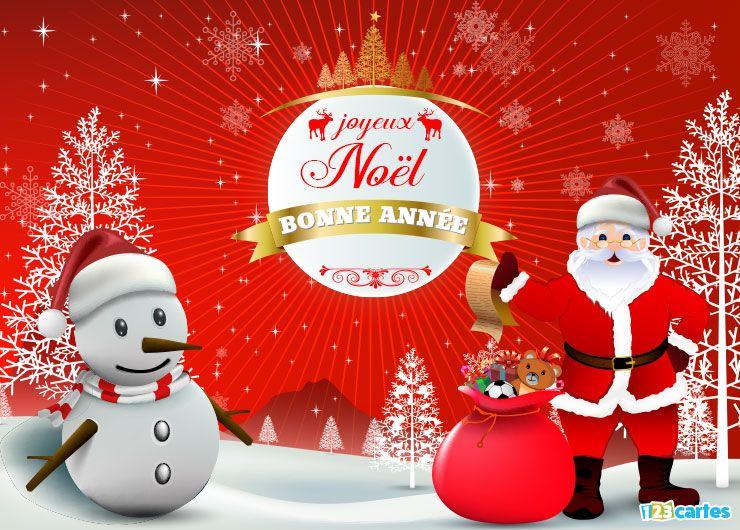 carte Joyeux Noël et Bonne Année figurine de père Noël et bonhomme de neige