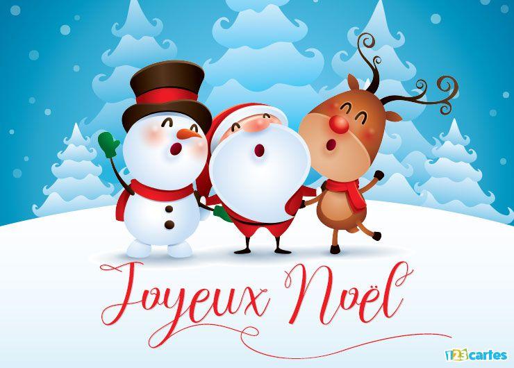 carte Joyeux Noël chantons tous en cœur bonhomme de neige, père Noël et un renne