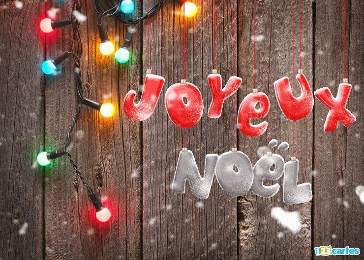carte Joyeux Noël guirlande lumineuse multicolore