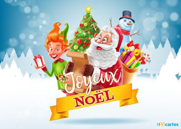 carte Joyeux Noël le père Noël et lElfe