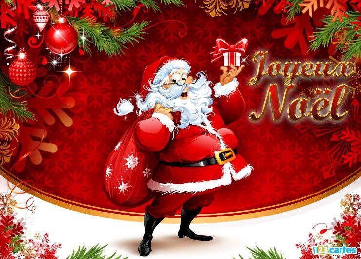 carte Joyeux Noël tapis de neige pour le père Noël