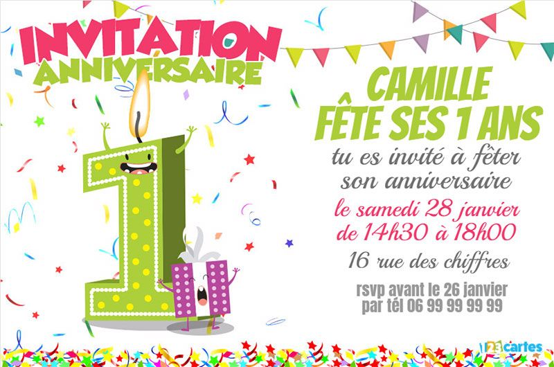 invitation anniversaire 1 an chiffres dr les 123 cartes. Black Bedroom Furniture Sets. Home Design Ideas
