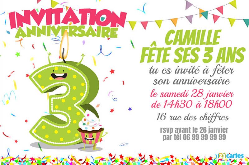 invitation anniversaire 3 ans chiffres dr les 123cartes. Black Bedroom Furniture Sets. Home Design Ideas