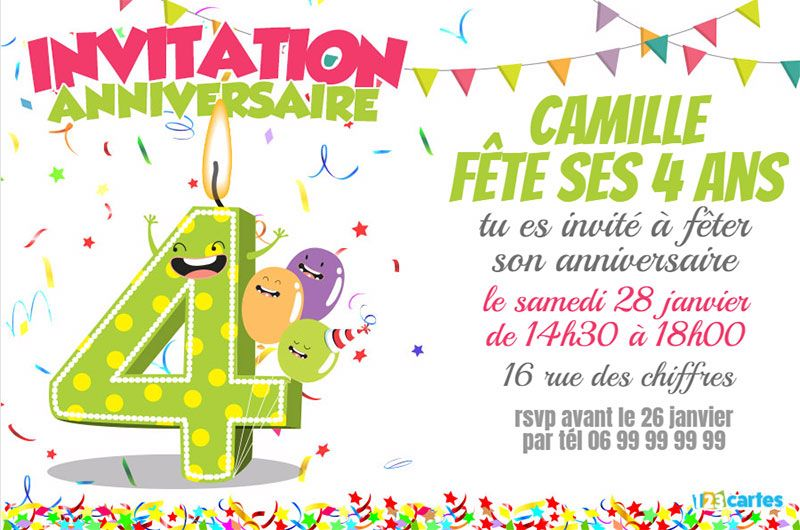 invitation anniversaire 4 ans chiffres dr les 123cartes. Black Bedroom Furniture Sets. Home Design Ideas