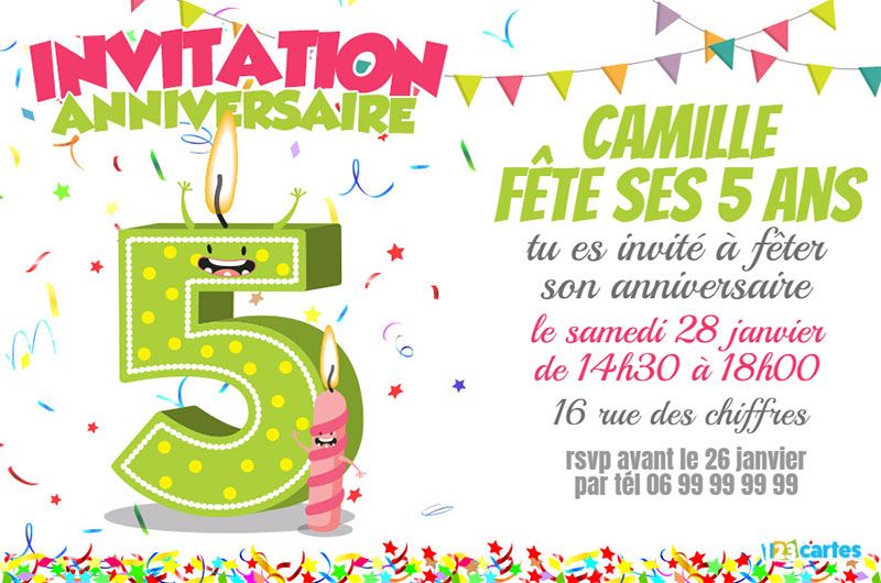 invitation anniversaire 5 ans chiffres dr les 123cartes. Black Bedroom Furniture Sets. Home Design Ideas