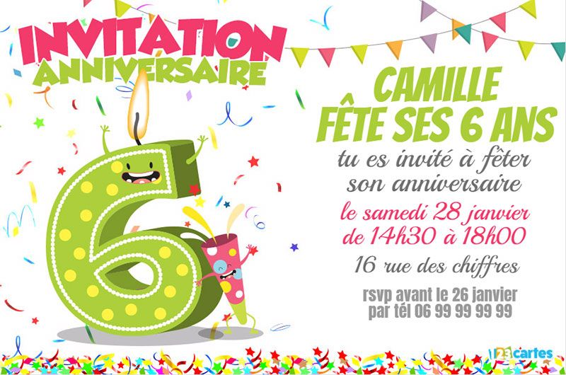 invitation anniversaire 6 ans chiffres dr les 123 cartes. Black Bedroom Furniture Sets. Home Design Ideas