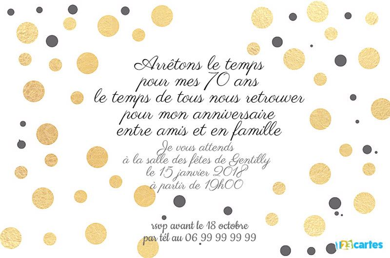 invitation anniversaire 70 ans avec des ronds dor s 123cartes. Black Bedroom Furniture Sets. Home Design Ideas