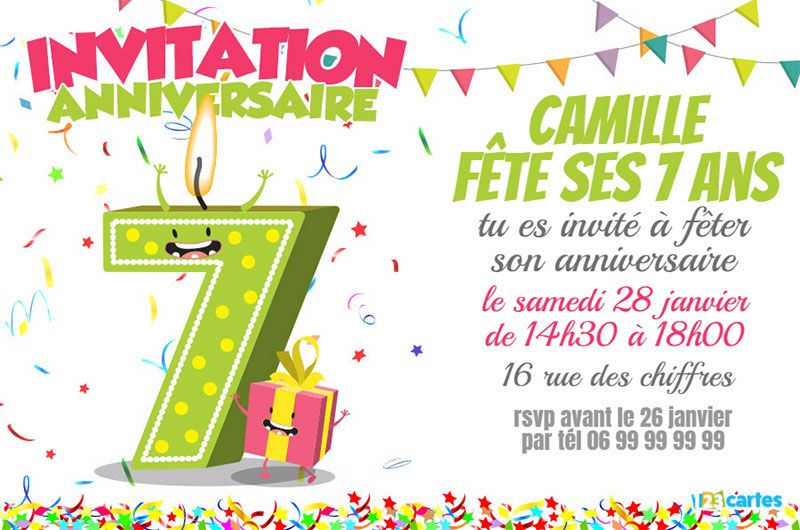 invitation anniversaire 7 ans chiffres dr les 123 cartes. Black Bedroom Furniture Sets. Home Design Ideas