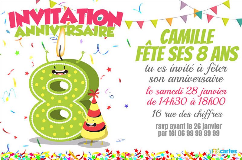 invitation anniversaire 8 ans chiffres dr les 123cartes. Black Bedroom Furniture Sets. Home Design Ideas