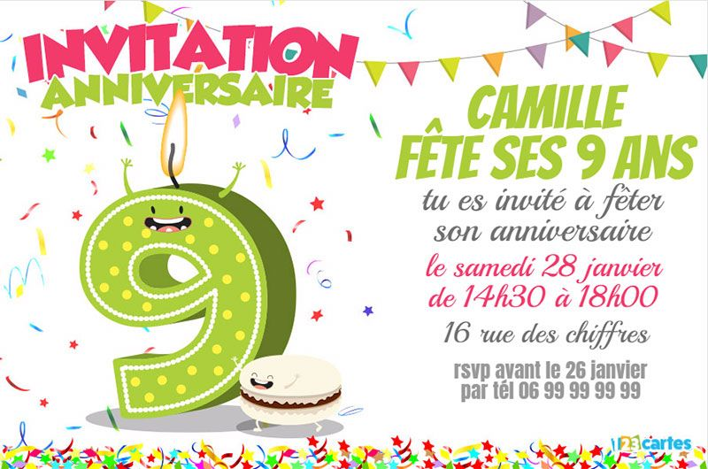 invitation anniversaire 9 ans gar on ck59 jornalagora. Black Bedroom Furniture Sets. Home Design Ideas