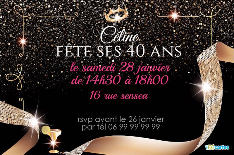 invitations 40 ans cartes et invitations gratuites 123 cartes. Black Bedroom Furniture Sets. Home Design Ideas