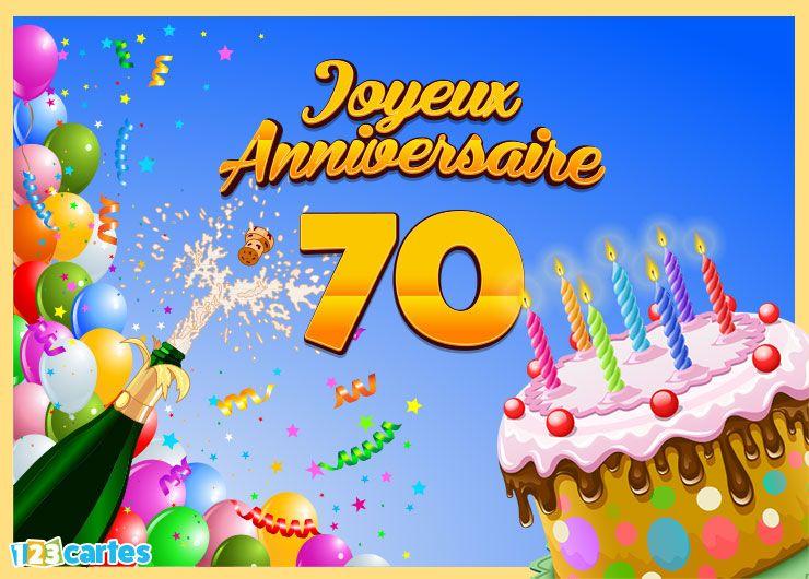 carte joyeux anniversaire 70 ans gâteau d'anniversaire et champagne
