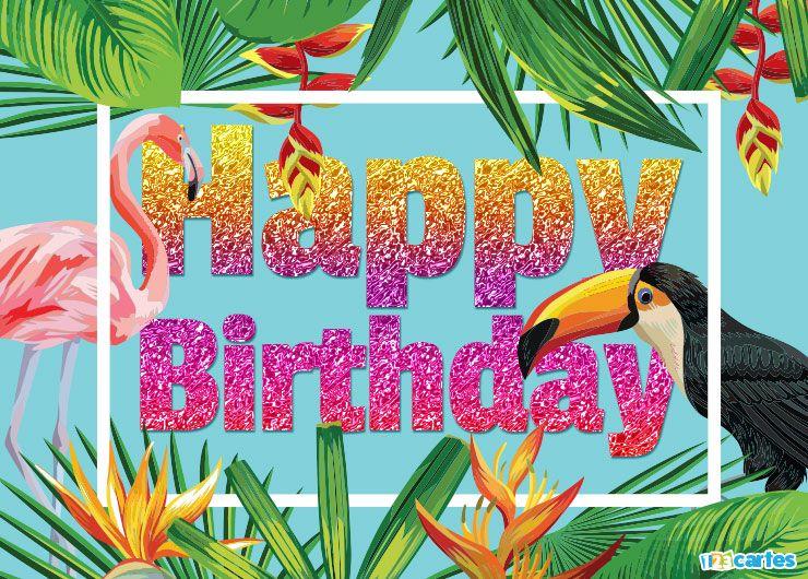 Flamant rose et Toucan et végétation luxuriante avec joyeux anniversaire en Anglais