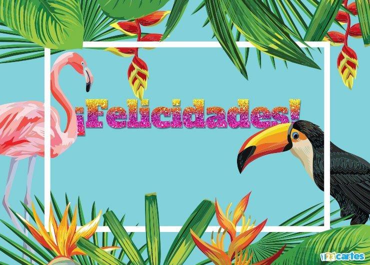 Flamant rose et Toucan et végétation luxuriante avec joyeux anniversaire en Felicidades Espagnol
