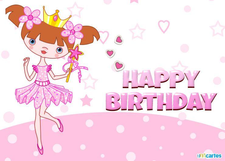 belle petite princesse en tutu rose avec joyeux anniversaire en Anglais
