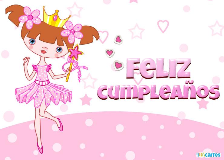 belle petite princesse en tutu rose avec joyeux anniversaire en Espagnol