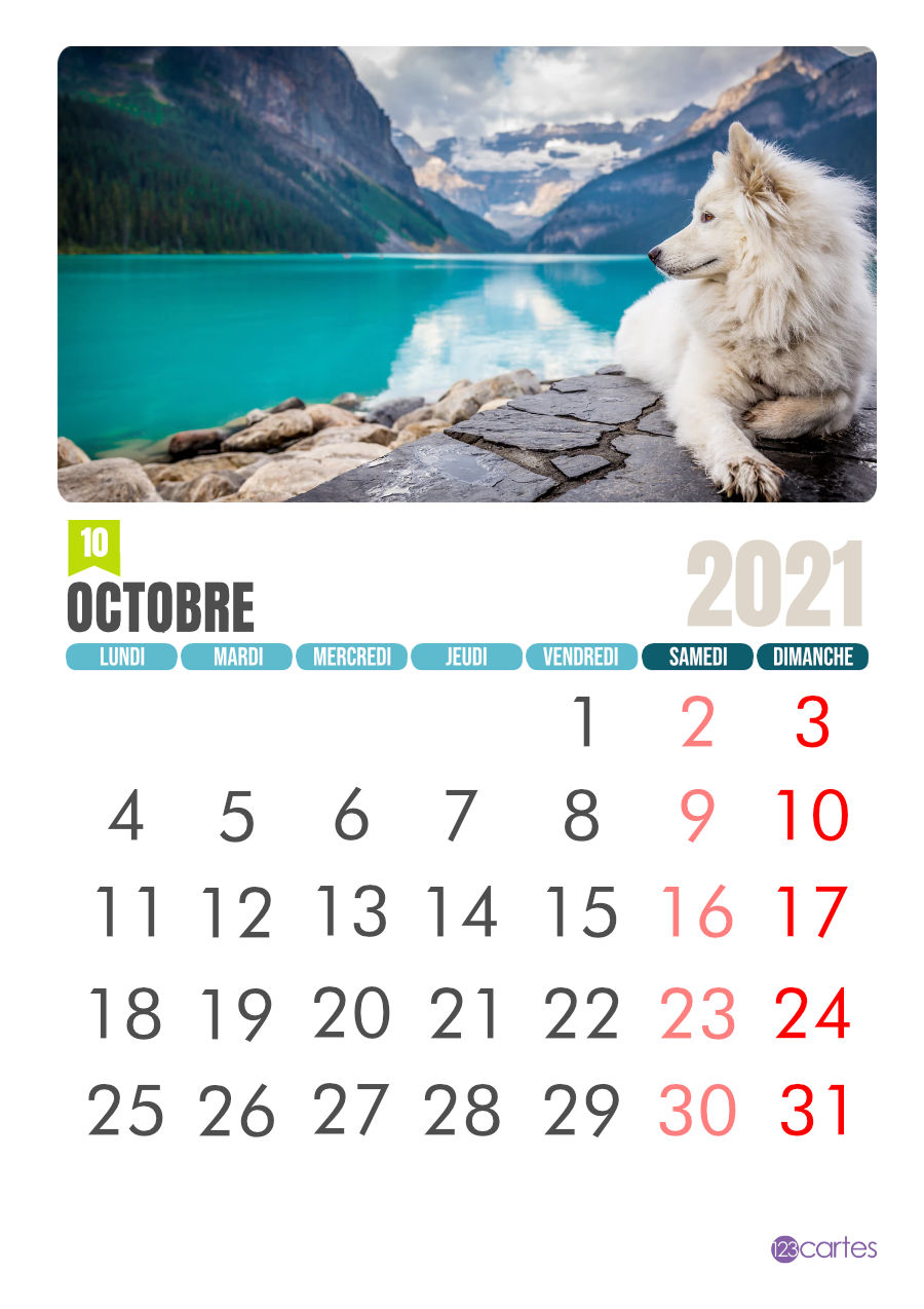 Calendrier Photo gratuit Octobre 2021 | 123cartes