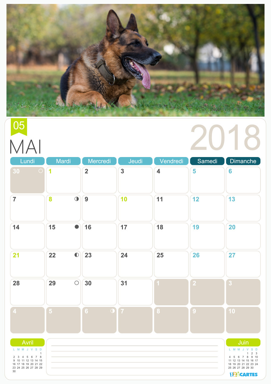calendrier photo gratuit mai 2018