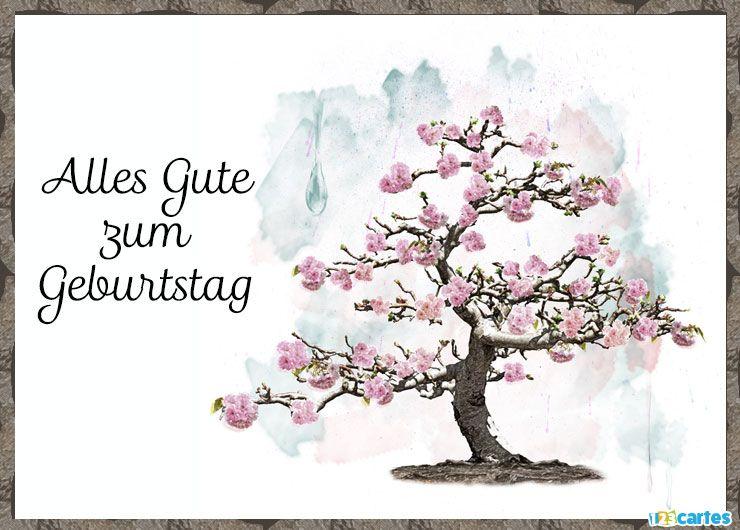 carte anniversaire en allemand arbre aquarelle