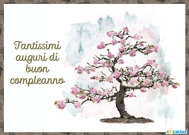 cerisier à fleurs roses avec joyeux anniversaire en Italien