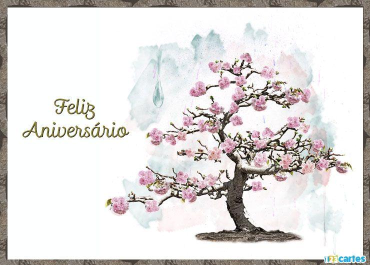 cerisier à fleurs roses avec joyeux anniversaire en Portugais