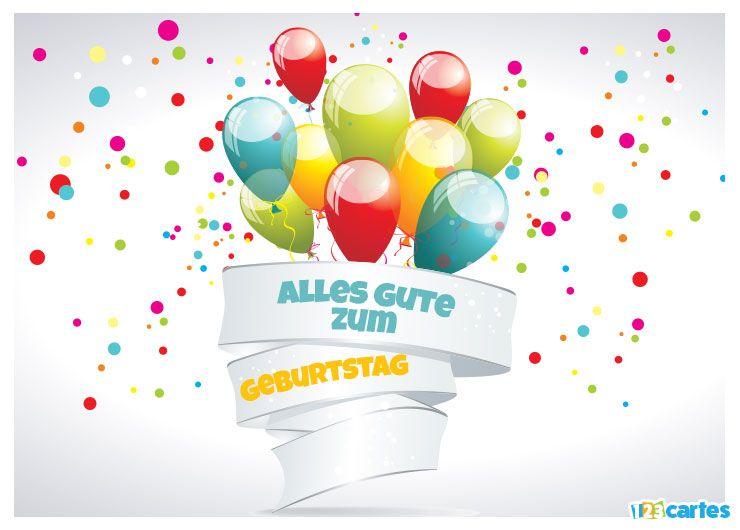 carte joyeux anniversaire en allemand bouquet de ballons multicolores