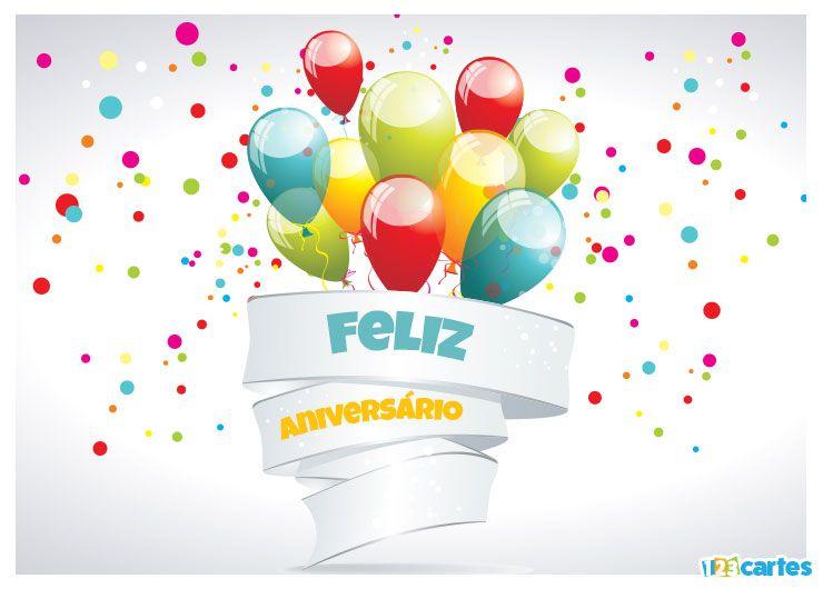 bouquet de ballons gonflables multicolores avec joyeux anniversaire en Portugais