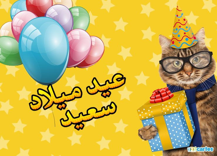 chat avec des lunettes et un chapeau pointu et qui tient dans sa patte une boîte cadeau avec joyeux anniversaire en Arabe eid milad saeid