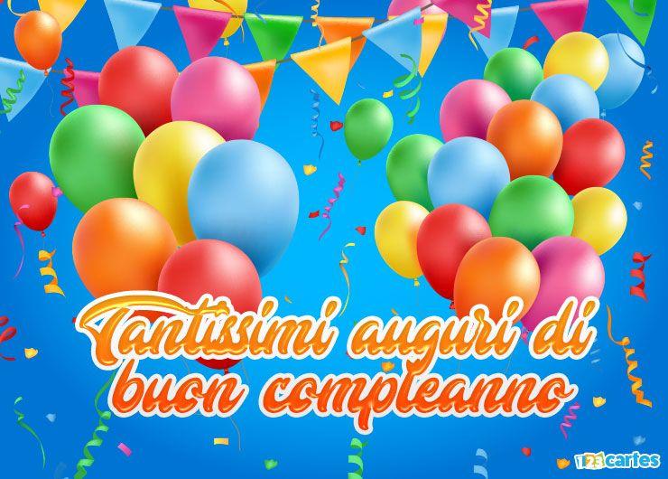ballons gonflables et fanions de différentes couleurs avec joyeux anniversaire en Italien