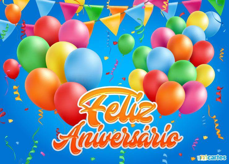 ballons gonflables et fanions de différentes couleurs avec joyeux anniversaire en Portugais