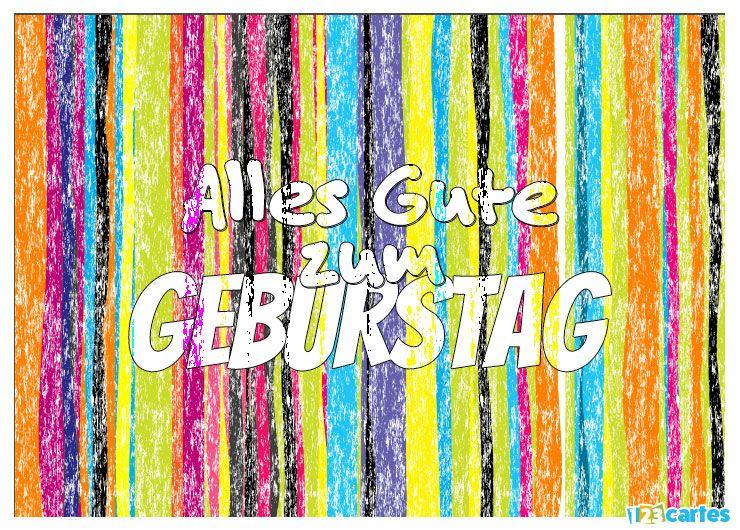 carte anniversaire en allemand craie arc-en-ciel