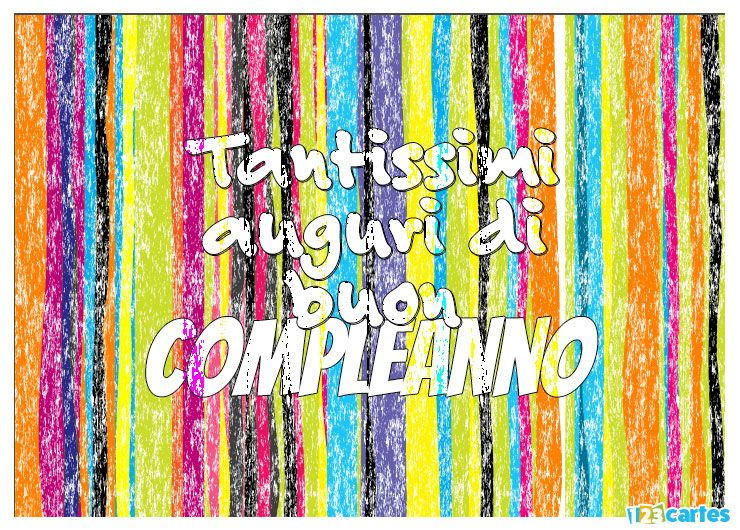 carte anniversaire en italien craie arc-en-ciel