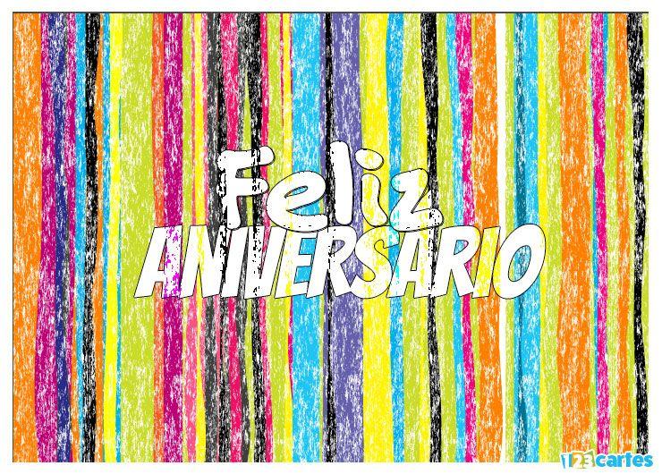 rayures de plusieurs couleurs effet craie avec joyeux anniversaire en Portugais