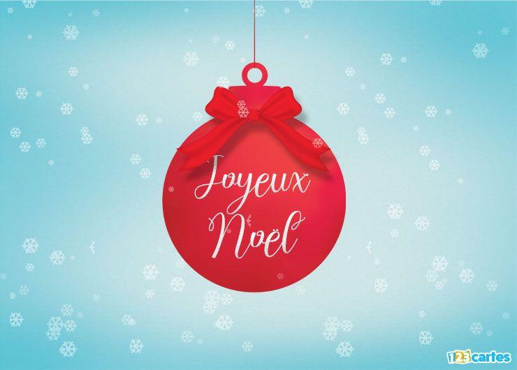 carte joyeux Noël boule de Noël rouge