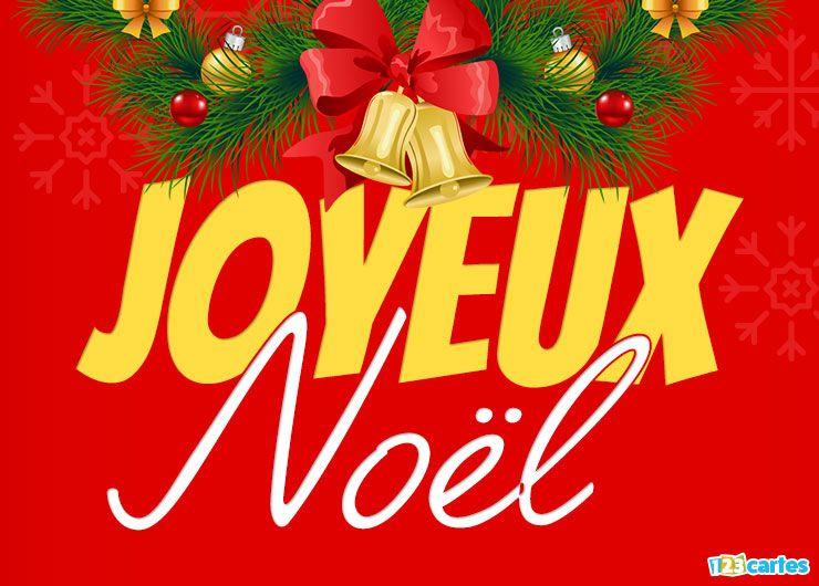 carte joyeux Noël cloches de Noël sur fond rouge boules de décoration et branches de sapin