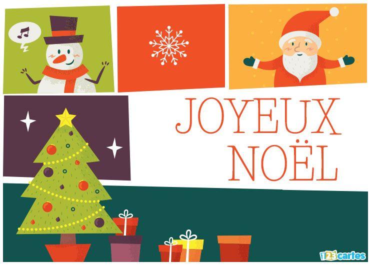 carte joyeux Noël collage du père Noël