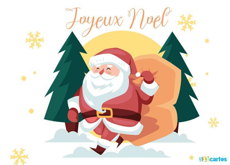 Carte joyeux Noël le père Noël dans la forêt