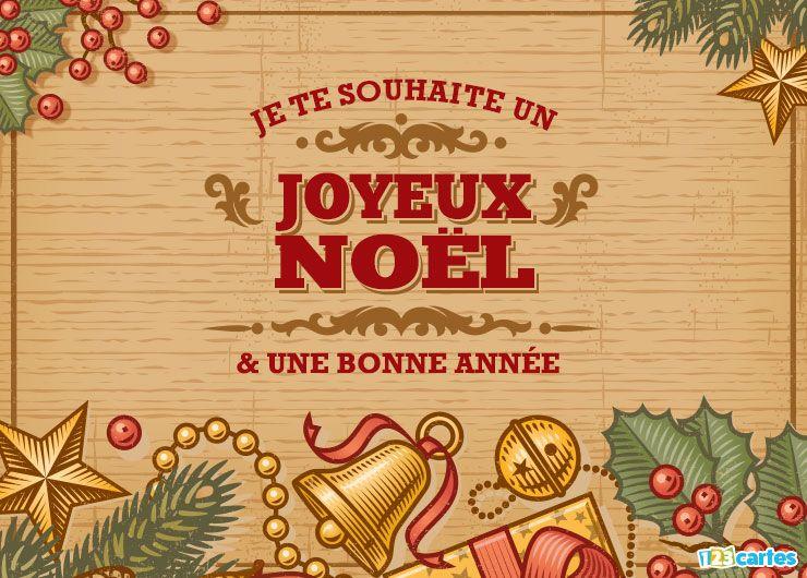 carte joyeux Noël et bonne année vintage