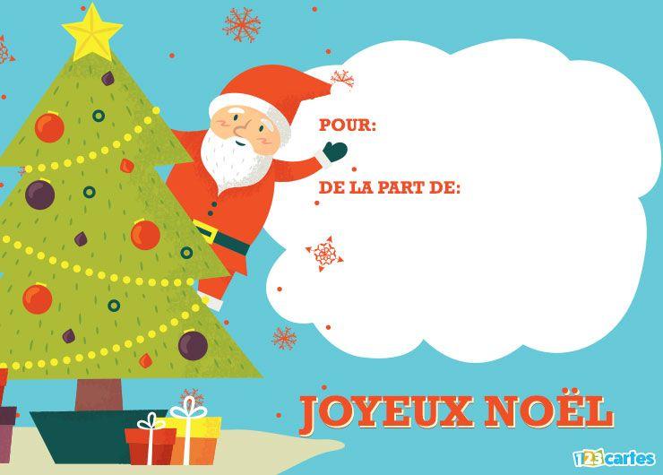 carte joyeux Noël le père Noël est arrivé Bleu