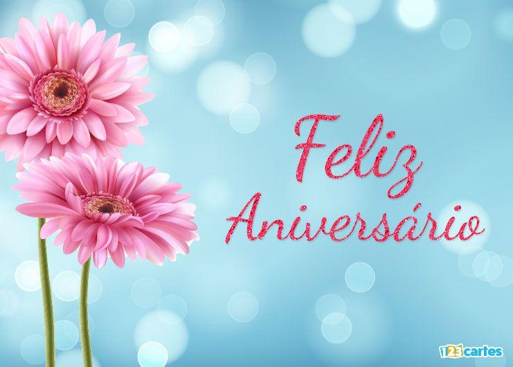 carte anniversaire en Portugais fleur gerbera