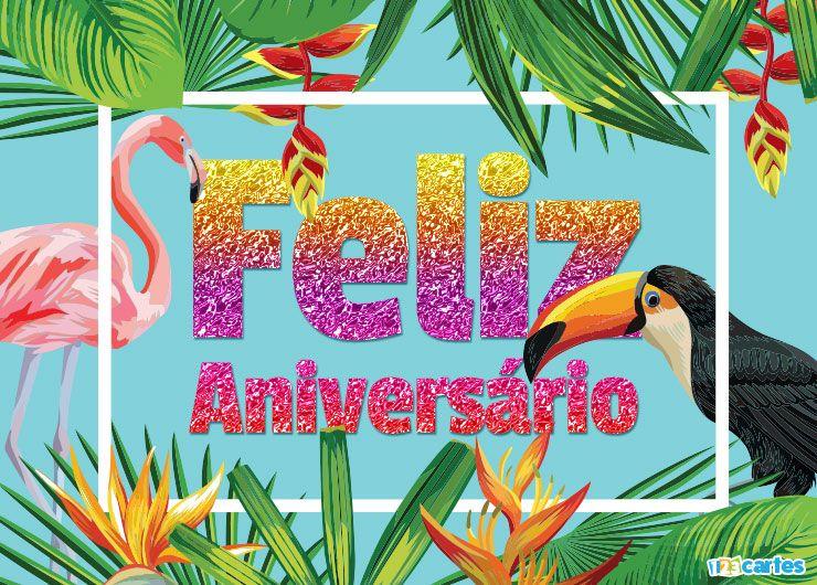 Flamant rose et Toucan et végétation luxuriante avec joyeux anniversaire en Portugais