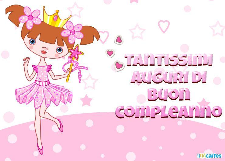 belle petite princesse en tutu rose avec joyeux anniversaire en Italien