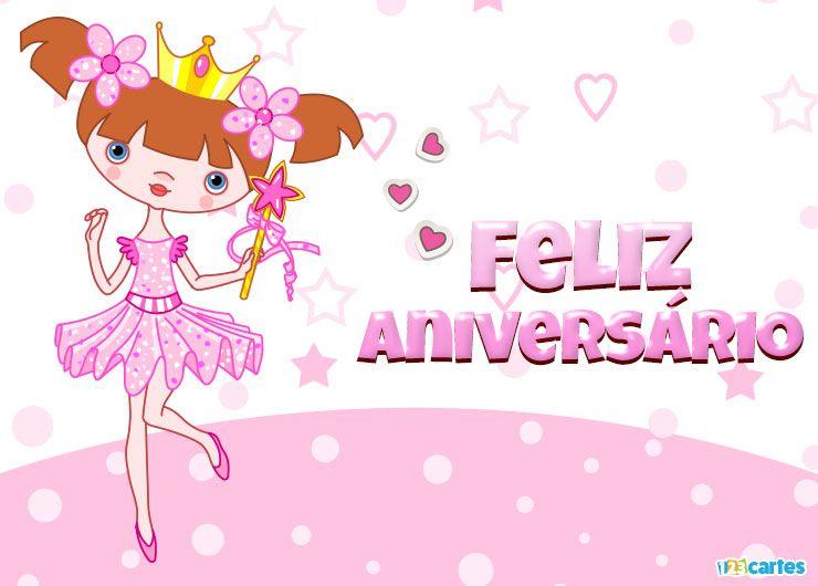 belle petite princesse en tutu rose avec joyeux anniversaire en Portugais
