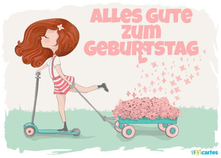 carte joyeux anniversaire en allemand fille à la trottinette