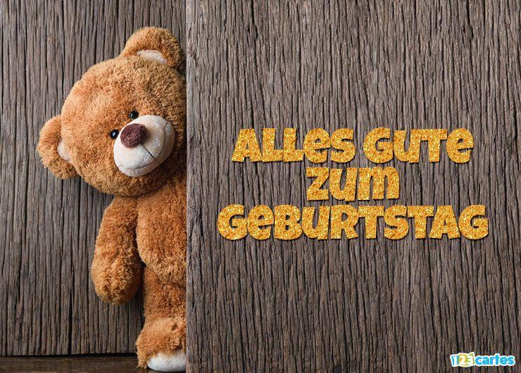 carte joyeux anniversaire en allemand peluche mignonne