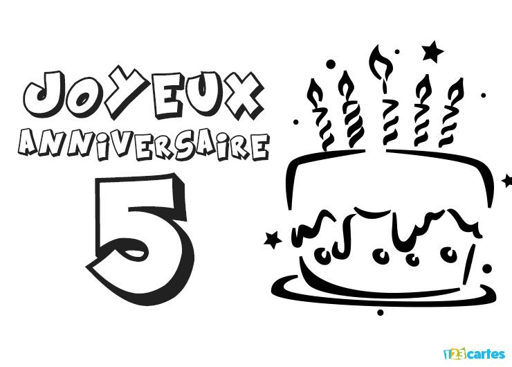 carte anniversaire 5 ans coloriage g teau avec bougies 123cartes. Black Bedroom Furniture Sets. Home Design Ideas